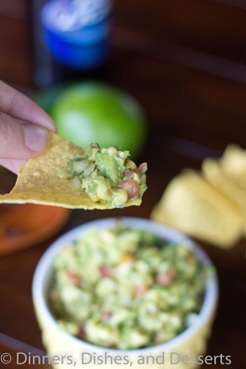 roasted corn and avocado salsa on a chip