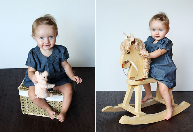 A small girl sitting on a basket, then sitting on a wood rocking horse