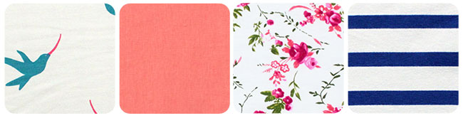 Apricot colored fabric; white and pink floral fabric