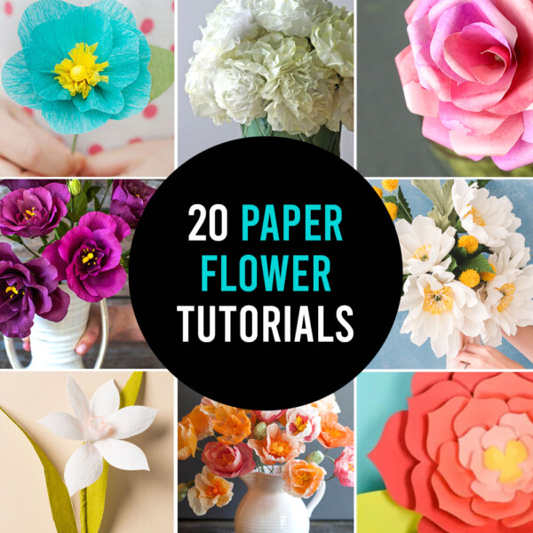 Collage of different paper flowers tutorials