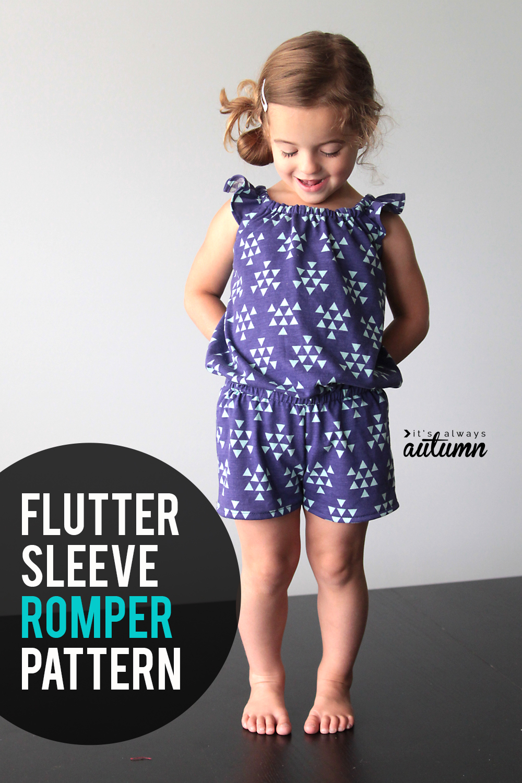 Adorable toddler romper pattern with flutter sleeves!