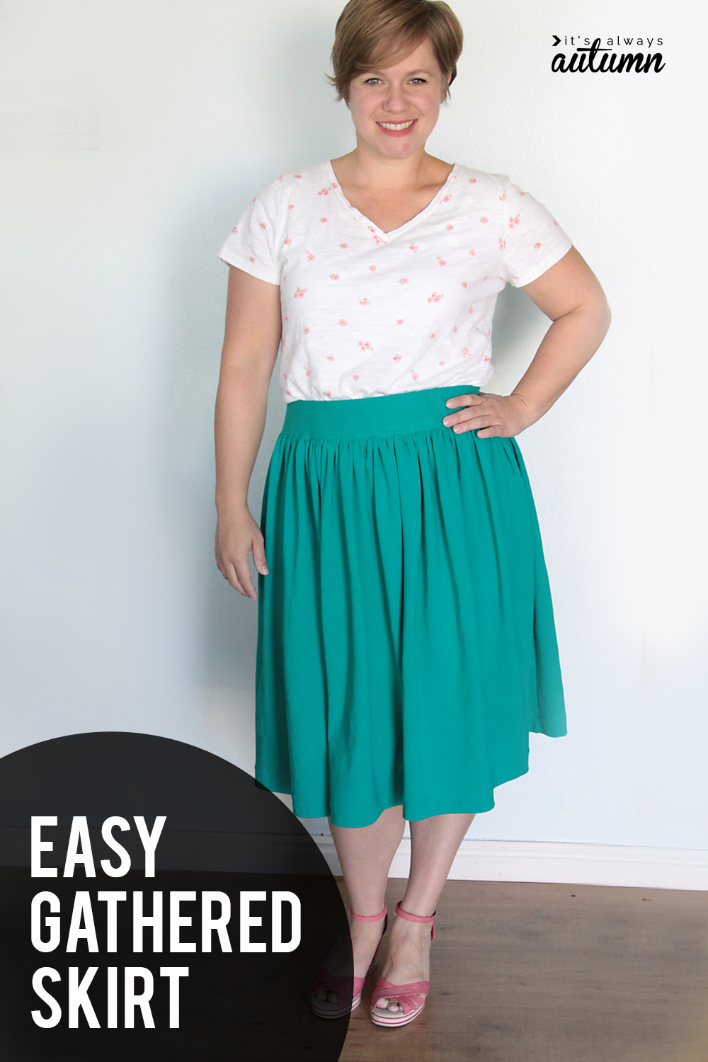 How to make a DIY gathered skirt! Easy gathered skirt tutorial with a flat elastic waistband.