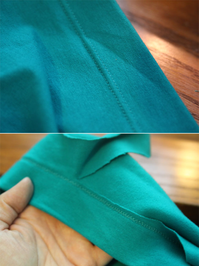 Skirt hemmed and excess trimmed