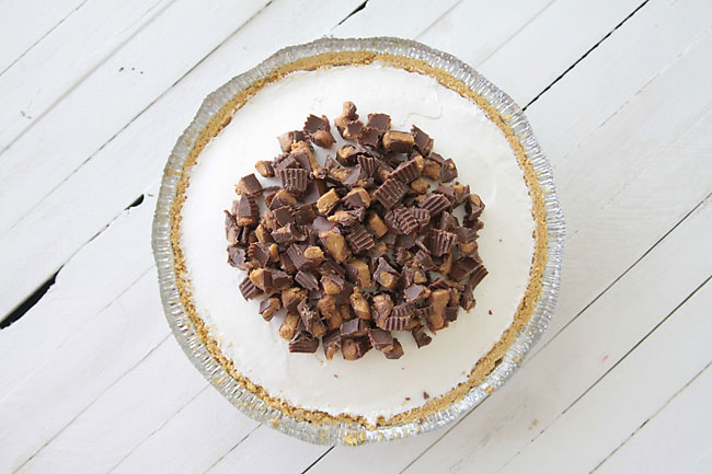No bake cheesecake in a tin covered with chopped Reese\'s peanut butter cups