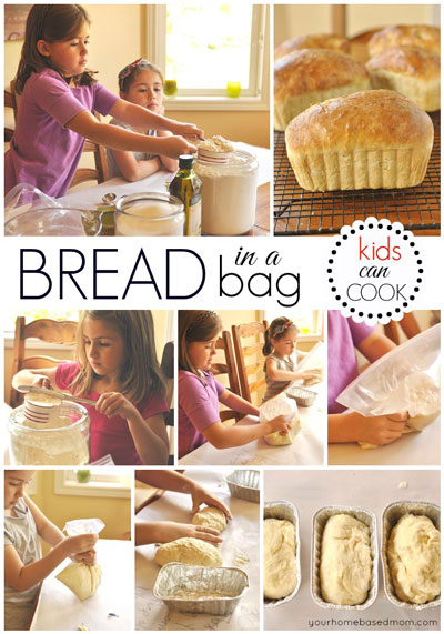 collage showing how to make bread in a bag