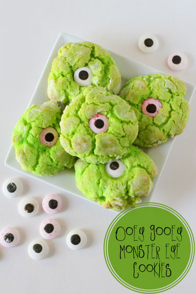 Green cookies with eyeball in the center