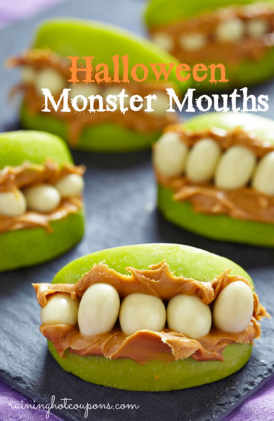 Monster mouth treats made from apple slices, peanut butter and nuts