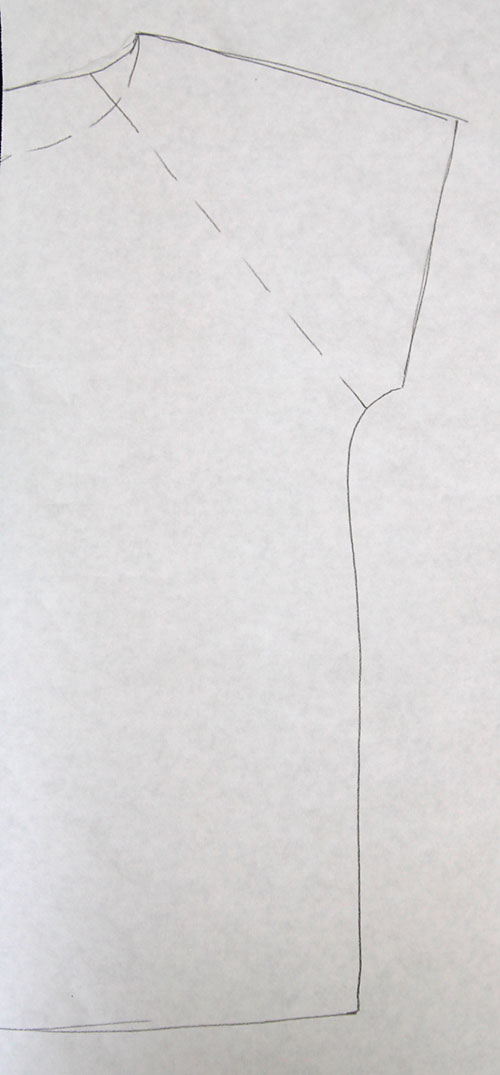Traced t-shirt with dotted line from armpit to neck