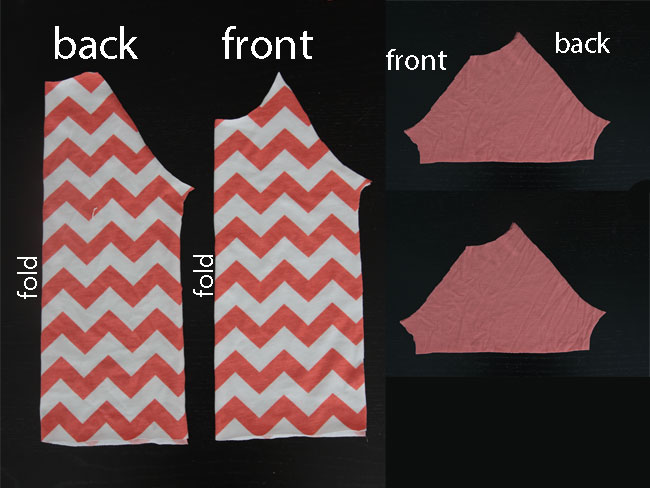 Raglan t-shirt pattern pieces, front and back plus two sleeve pieces