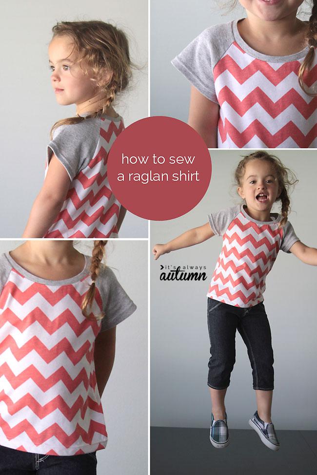 Girl modeling raglan t-shirt sewing tutorial