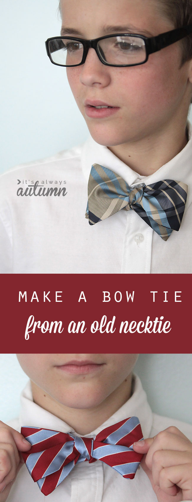 how to make a bow tie from a necktie - grew pattern and sewing tutorial - great teen boy gift!