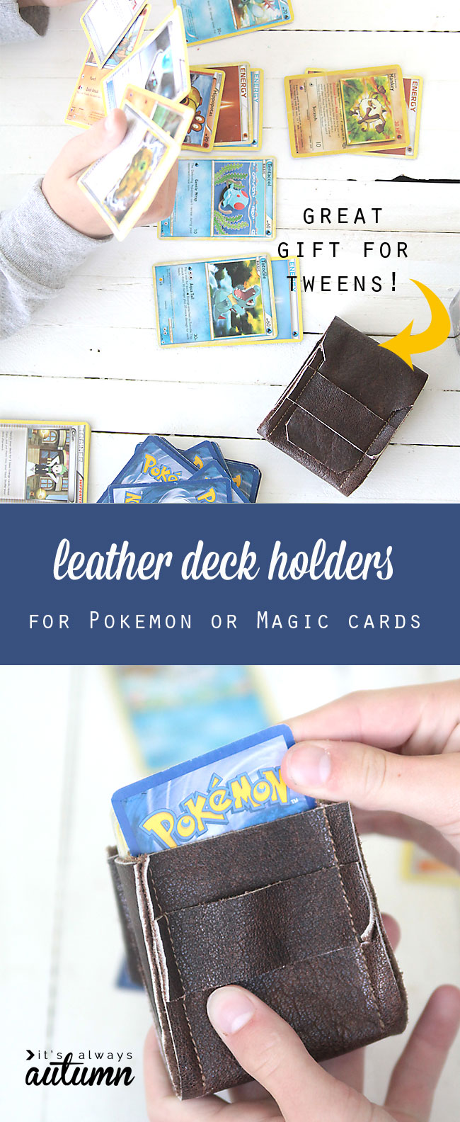kids playing with pokemon cards; DIY leather deck holder for cards