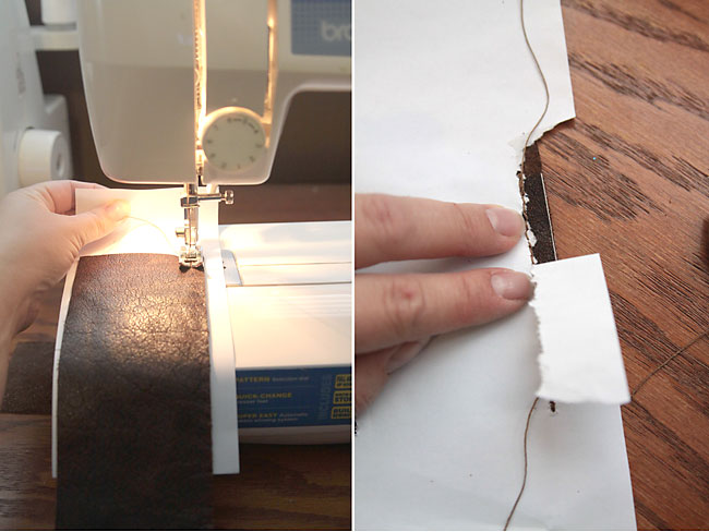 sewing leather on a sewing machine with a piece of paper under it