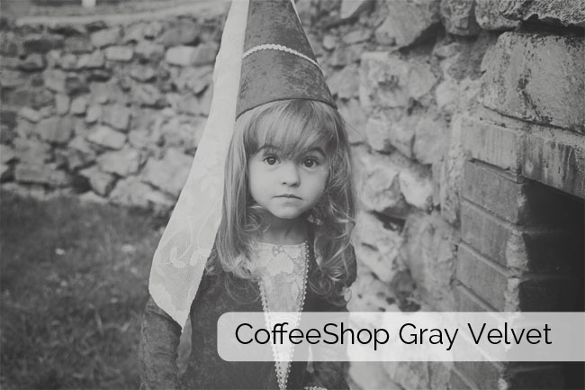 A little girl in a princess costume in black and white