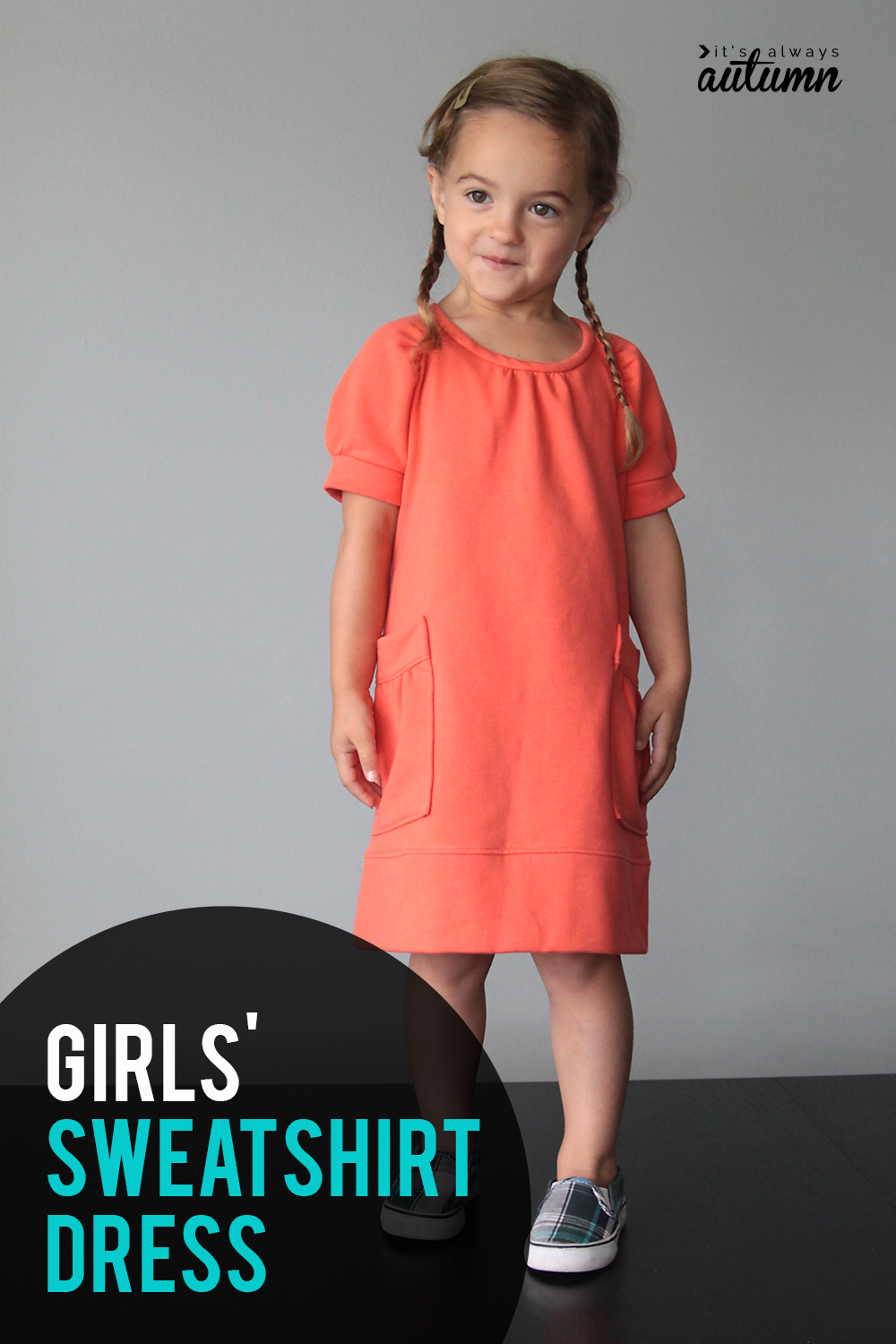 This little girl's sweatshirt dress is so cute! Click through to learn how to sew one.