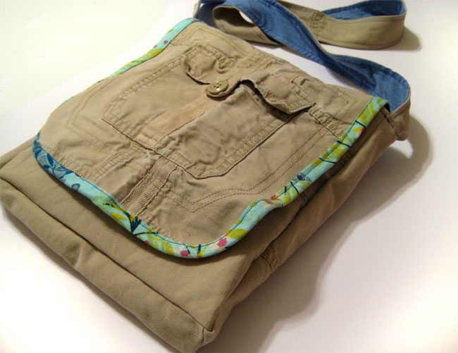 messenger bag sewn from cargo pants