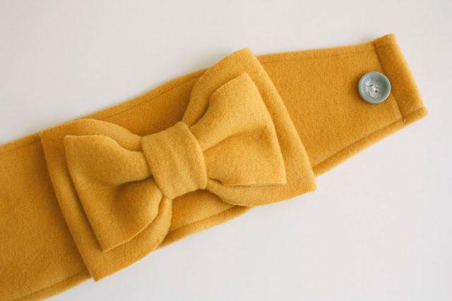A fleece headband with bow