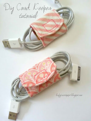 computer cords wrapped in DIY fabric cord keepers