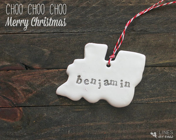 Train shaped salt dough Christmas ornament with name stamped on it