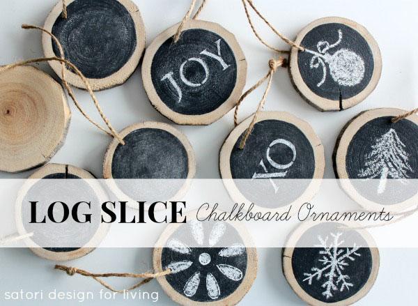Log slice chalkboard Christmas ornaments