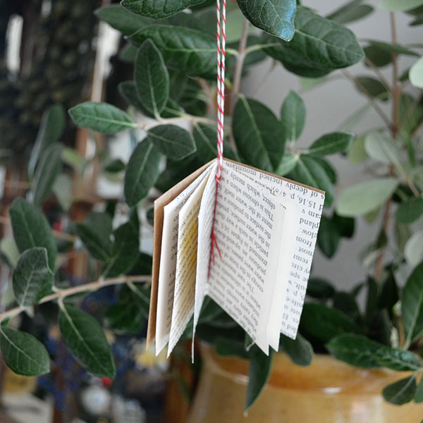 Little book made from paper Christmas ornament