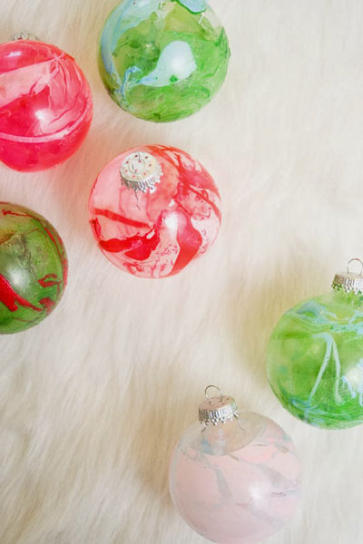 Christmas ball ornaments with marbled color on them