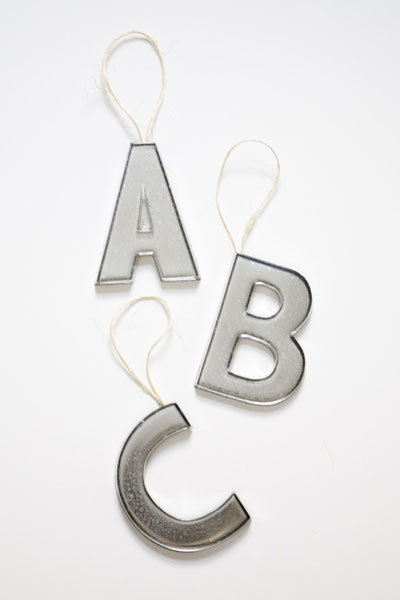 Capital Letters with loops on top as Christmas ornaments