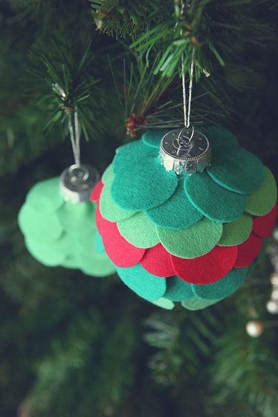 Felt circle Christmas ornaments
