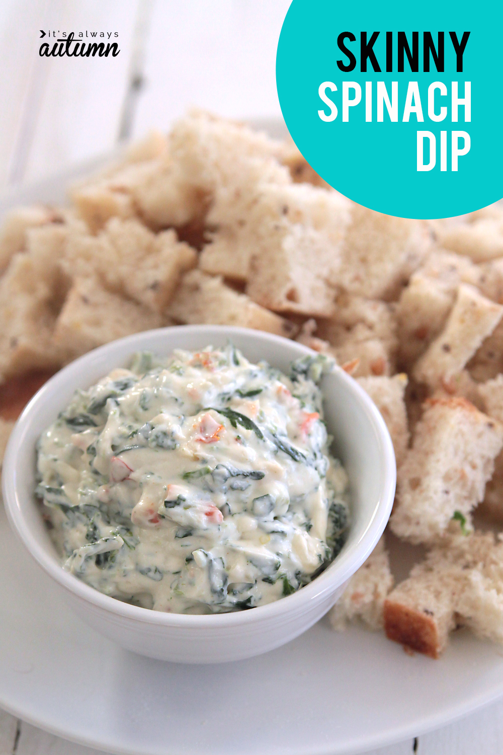 This skinny spinach dip has just a quarter the calories of the original! Perfect light dip for holidays and parties.