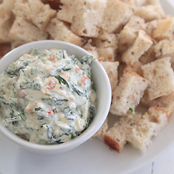 skinny spinach dip with just a quarter of the calories of the original! tastes great.
