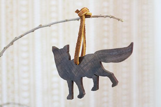 Wood wolf cutout Christmas ornament
