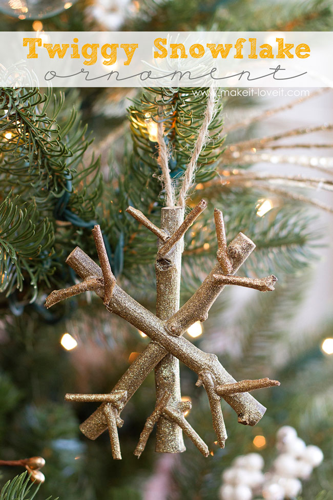 Snowflake ornament made from twigs