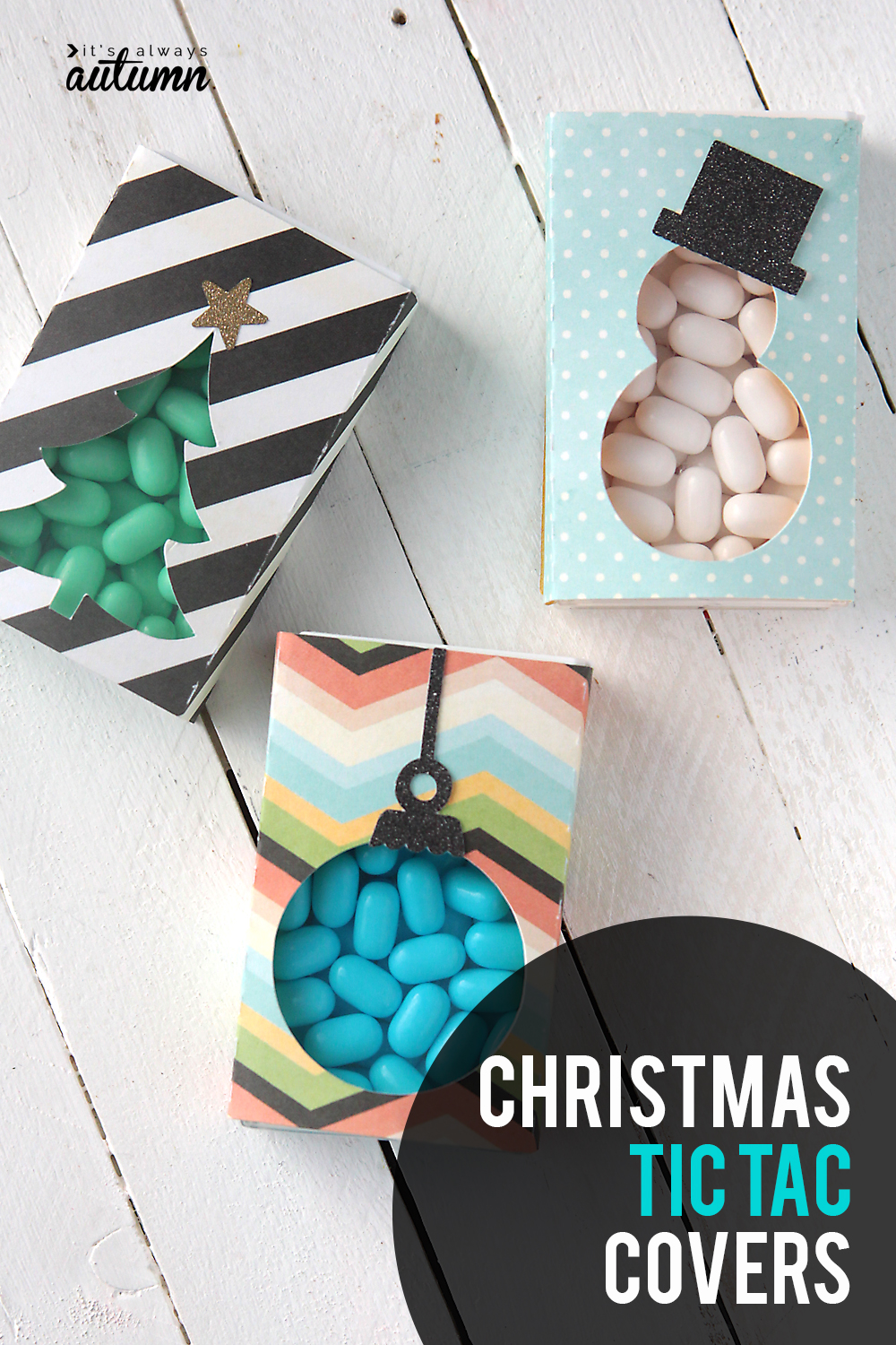 Cute little Christmas tic tac covers turn a package of mints into an adorable Christmas gift!