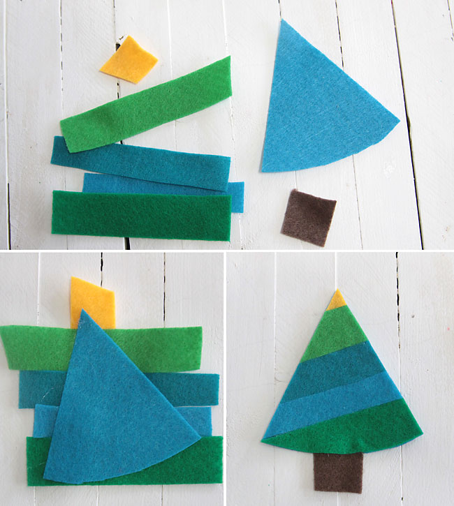 making a striped felt christmas tree