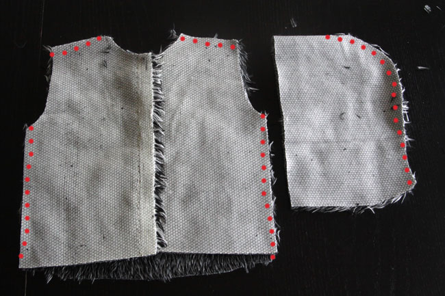 vest with shoulder and side seams marked; hood with seam marked