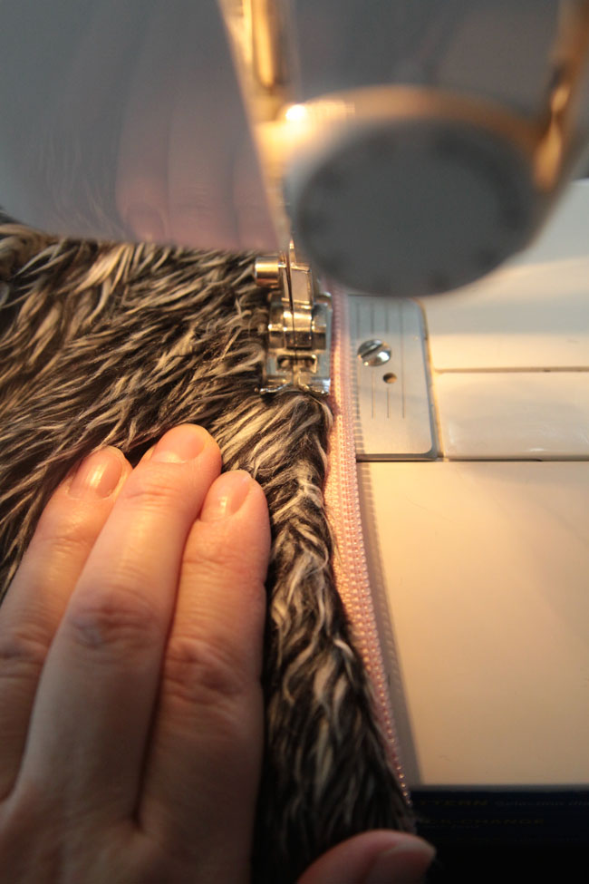 sewing the zipper in on a sewing machine