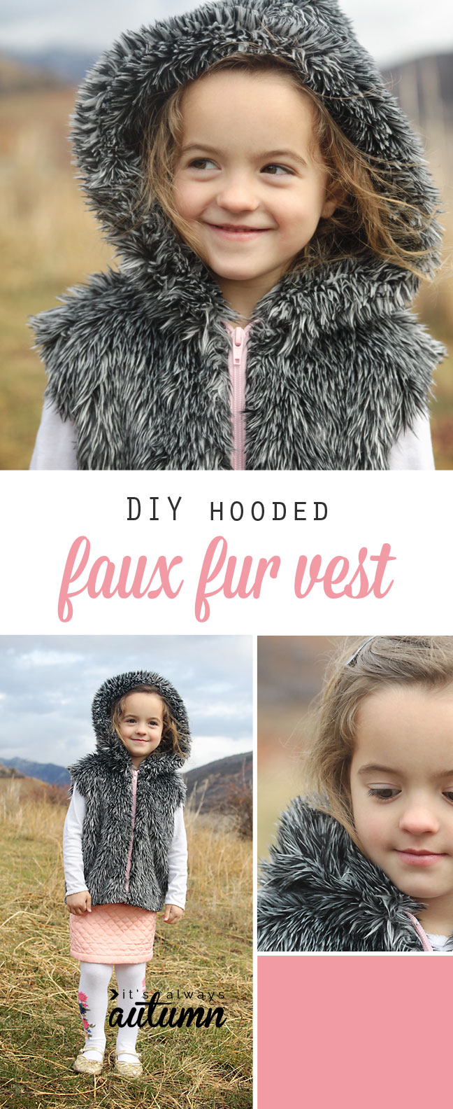 a little girl wearing a hooded faux fur vest made from a sewing tutorial