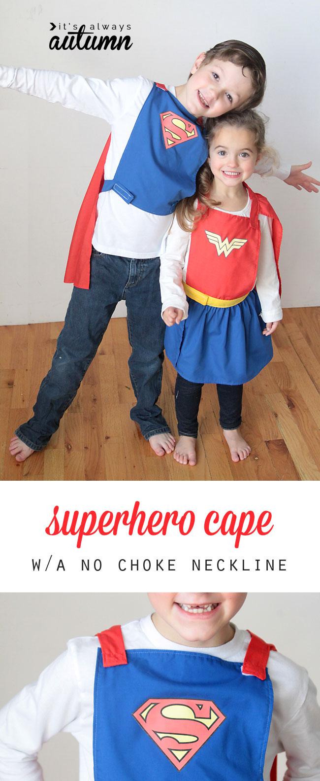 kids wearing no choke superhero capes