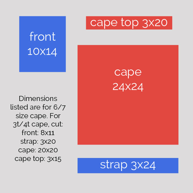 superhero cape cutting diagram
