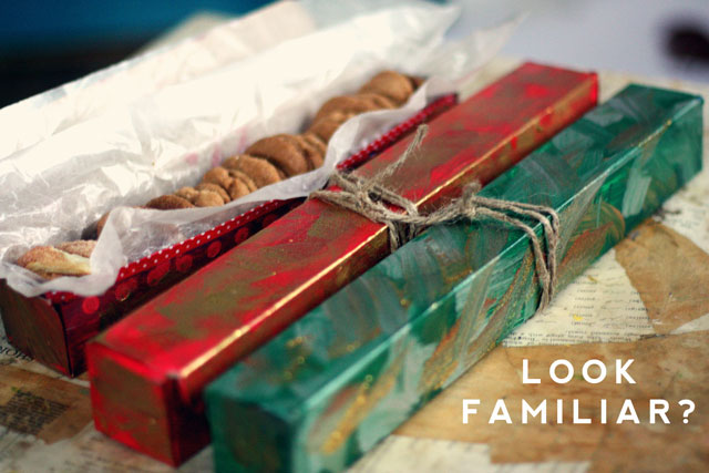 aluminum foil boxes decorated and filled with cookies