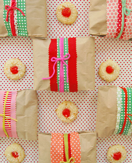 brown lunch sacks decorated as cookie bags