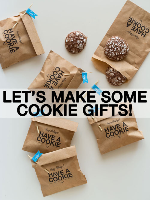 kraft treat bags with have a cookie printed on it