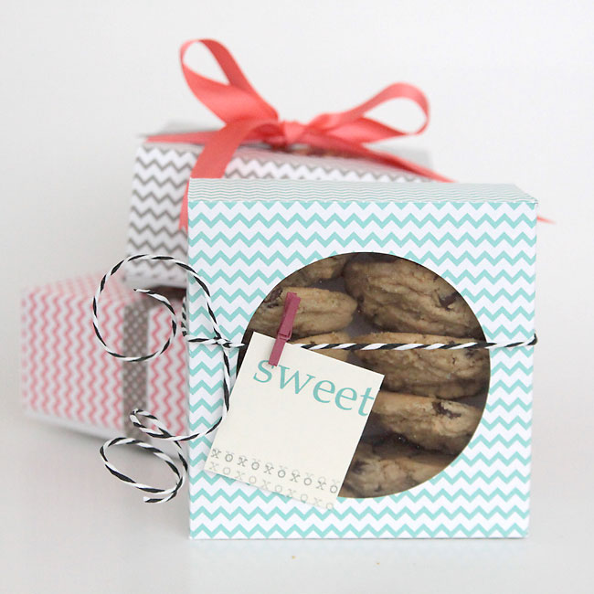 cookies in boxes made from patterned paper