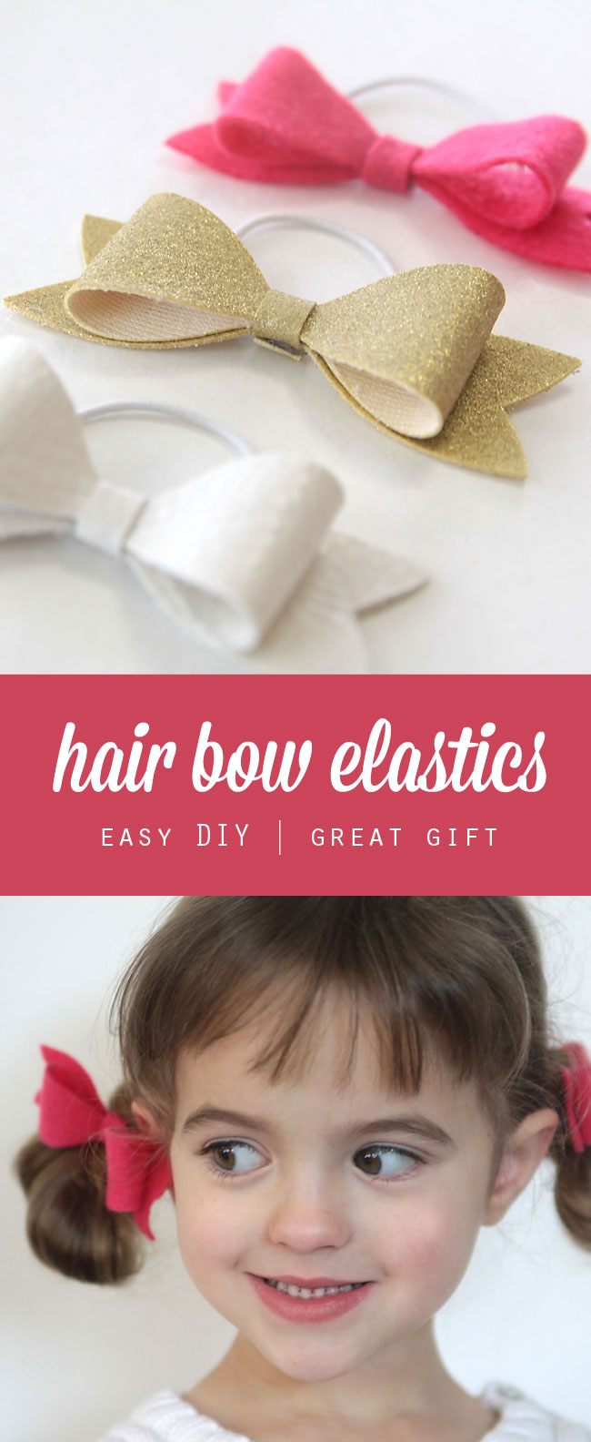 hair bow elastics; little girl with hows in her hair