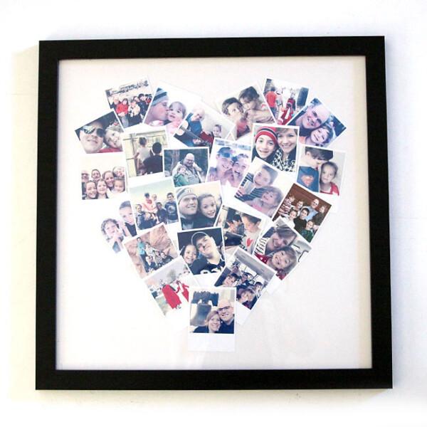 Photos arranged in a heart shape in a frame