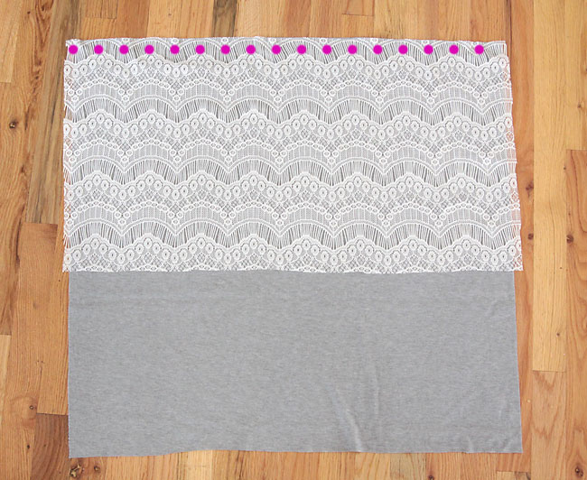 lace fabric laid over knit fabric with seam marked