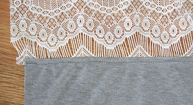 knit and lace fabric sewn together and topstitched
