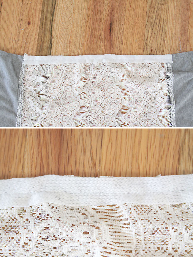 Adding white knit to the hem of the lace portion of the scarf