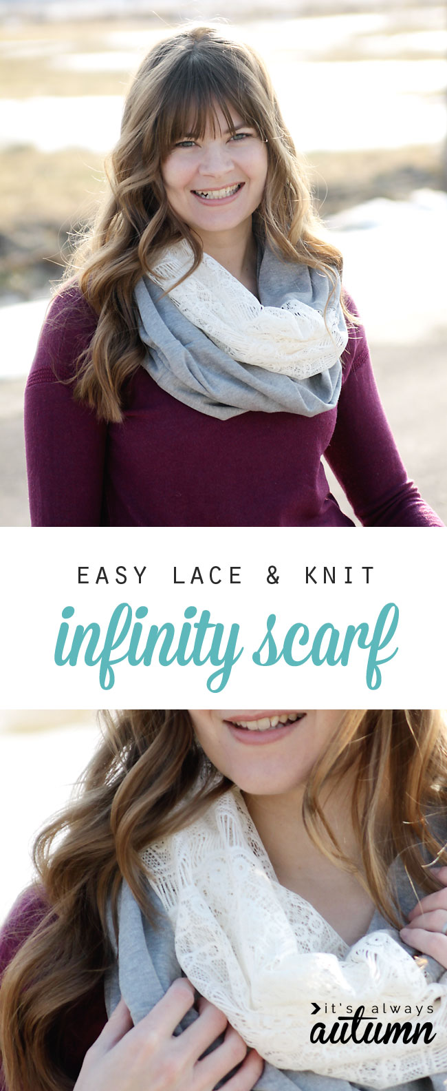 woman wearing an easy to sew lace and knit infinity scarf