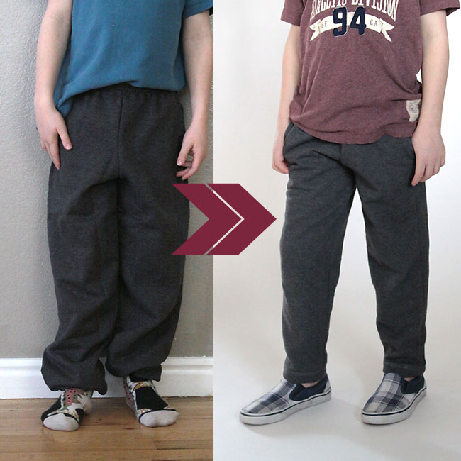 update old sweat pants with a slimmer fit
